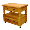 Catskill Craftsmen 24-in L x 40-in W x 35.5-in H Northeastern Hardwood/Oiled Kitchen Island with Casters