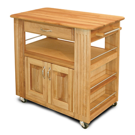 Catskill Craftsmen 17.5-in L x 34-in W x 34.5-in H Northeastern Hardwood/Oiled Kitchen Island with Casters