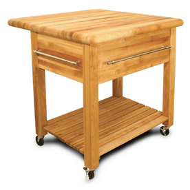 Catskill Craftsmen 34-in L x 36-in W x 35-in H Northeastern Hardwood/Oiled Kitchen Island with Casters