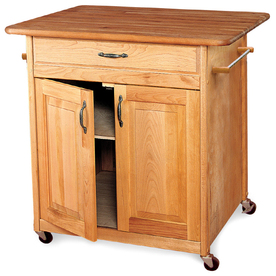 Catskill Craftsmen 30-in L x 38-in W x 34.5-in H Natural Hardwood/Oiled Finish Kitchen Island with Casters
