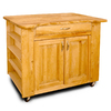 Catskill Craftsmen 26-in L x 40-in W x 34.5-in H Natural Hardwood/Oiled Kitchen Island with Casters