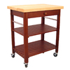 Catskill Craftsmen 29-in L x 29-in W x 20-in H Cherry Lacquered Base Natural Lacquered Top Kitchen Island with Casters