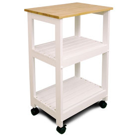 Catskill Craftsmen 15.25-in L x 21-in W x 34.25-in H White Base Natural Top Lacquered Finish Kitchen Island with Casters