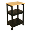 Catskill Craftsmen 15.25-in L x 21-in W x 34.25-in H Natural Lacquered Top, Black Lacquered Base Kitchen Island with Casters