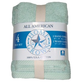 HOME GROWN 4-Piece Aqua Cotton Hand Towel Set