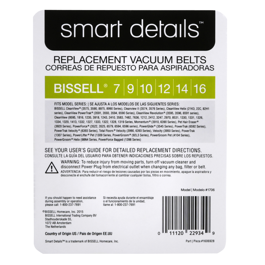 2 X 2 BISSELL ORIGINAL BELTS TO FIT 7 9 10 1216S PackageQuantity WHITE 2 Color