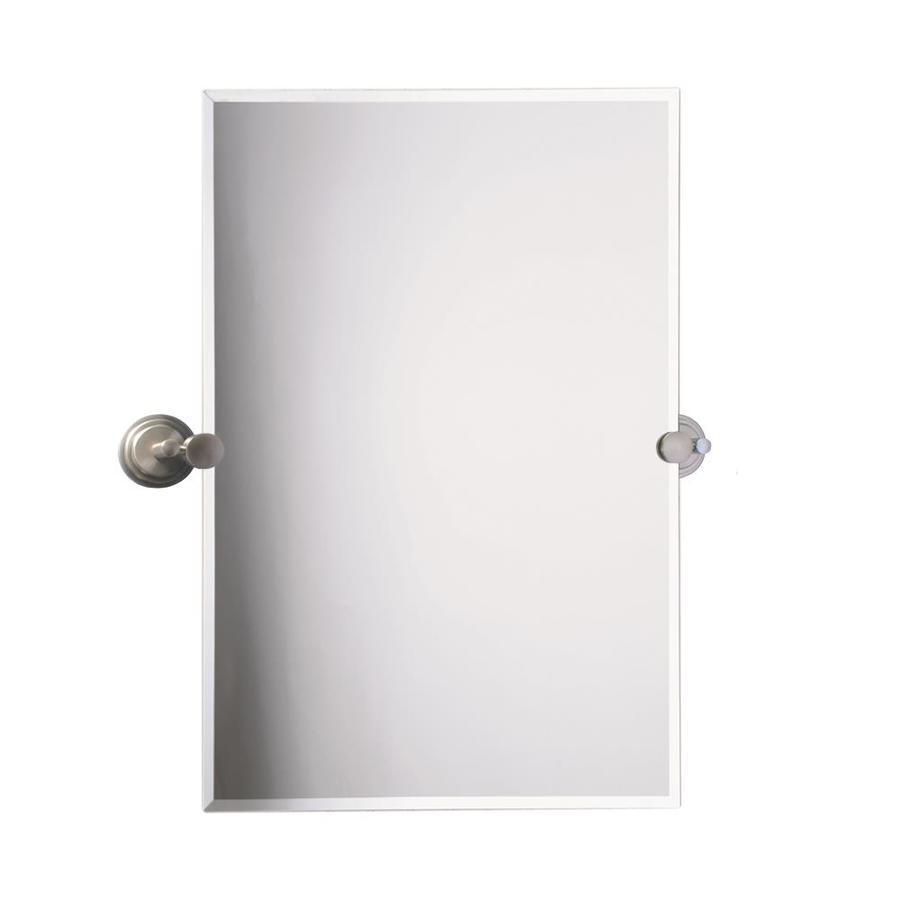... Frameless Bathroom Mirror with Satin Nickel Hardware and Beveled Edges