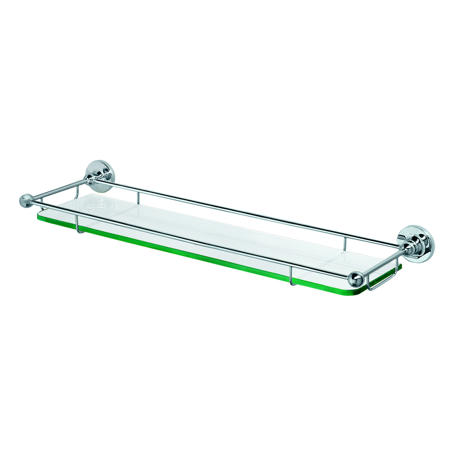 Shop gatco chrome metal bathroom shelf at for Bathroom glass shelves