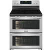 Frigidaire Gallery 30-in Smooth Surface 5-Element 3.6-cu ft / 3.6-cu ft Double Oven Single-Fan European Element Electric Range (Smudge-Proof Stainless Steel)