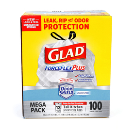 Glad ForceFlex 100-Count 13-Gallon White Kitchen Trash Bags