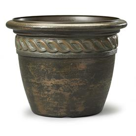 15.71-in x 12.24-in Light Bronze Resin Round Planter