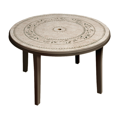 cheap durable grosfillex resin round patio table from
