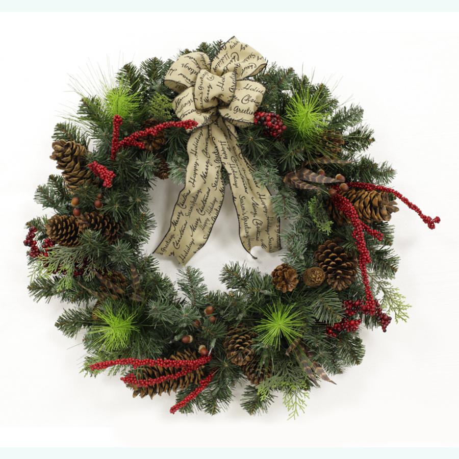 living 24 in pre lit pine indoor outdoor artificial christmas wreath. Black Bedroom Furniture Sets. Home Design Ideas