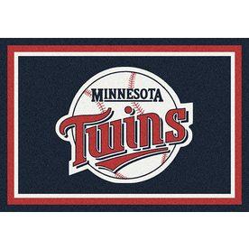 Milliken MLB Spirit Blue Rectangular Indoor Tufted Sports Throw Rug (Common: 3 x 4; Actual: 32-in W x 46-in L)