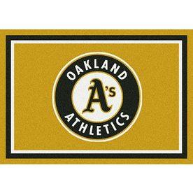 Milliken MLB Spirit Yellow Rectangular Indoor Tufted Sports Throw Rug (Common: 3 x 4; Actual: 32-in W x 46-in L)