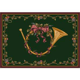 Milliken Holiday Green Rectangular Indoor Tufted Holiday Area Rug (Common: 5 x 8; Actual: 64-in W x 92-in L)