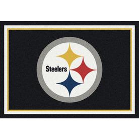 Milliken NFL Spirit Black Rectangular Indoor Tufted Sports Area Rug (Common: 5 x 8; Actual: 64-in W x 92-in L)