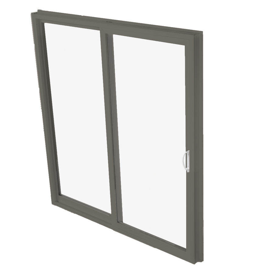 in clear glass aluminum sliding patio door with screen at