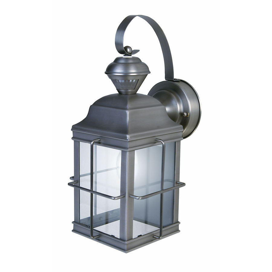Shop Heath Zenith 14 7 8 In H Brushed Nickel Motion Activated Outdoor Wall Light Energy Star At