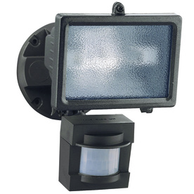 Secure Home 110° (Small Areas)-Degree 1-Head Bronze Halogen Motion-Activated Flood Light Timer Included