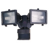 Secure Home 240° (Backyards)-Degree 2-Head Bronze Halogen Motion-Activated Flood Light Timer Included
