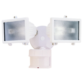 Secure Home 240-Degree 2-Head Dual Detection Zone White Halogen Motion-Activated Flood Light with Timer