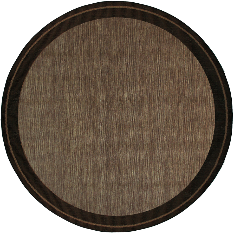 Shop New Haven Round Brown With Black Border Indoor Outdoor Area Rug Common