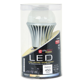 Utilitech 7.5-Watt (40W) A19 Med Base Warm White LED Bulb (3000K)