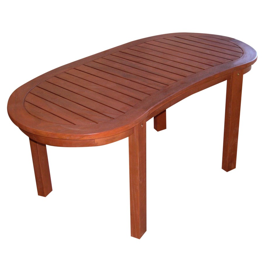 Shop Wood Oval Patio Coffee Table At