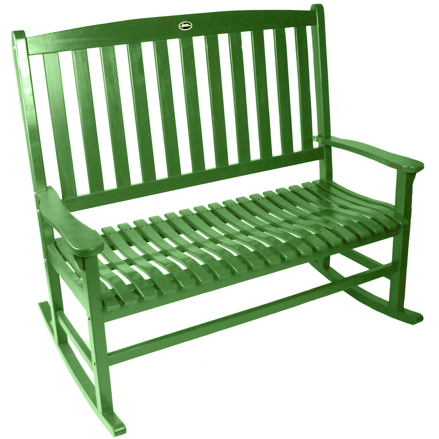 Shop Green Wood Slat Seat Outdoor Rocking Chair At