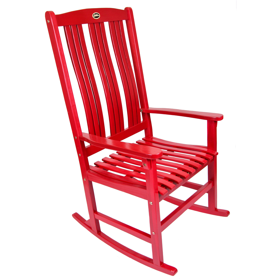 Shop Red Wood Slat Seat Outdoor Rocking Chair At