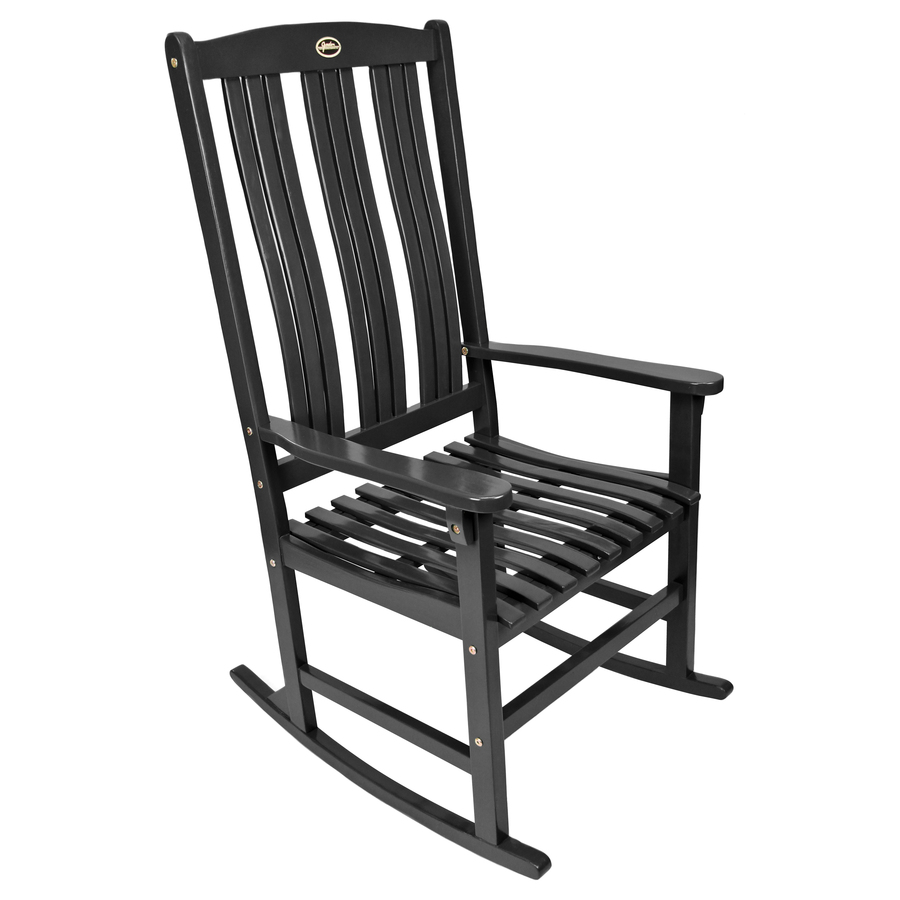 Shop Black Wood Slat Seat Outdoor Rocking Chair At