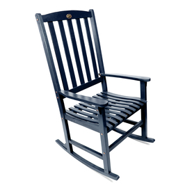Shop Navy Wood Slat Seat Outdoor Rocking Chair At