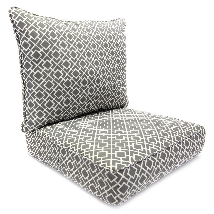Shop jordan manufacturing poet gray deep seat patio chair for Garden furniture cushions