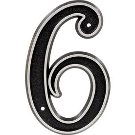 Hillman Sign Center 6-in Reflective Black House Number 6
