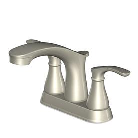 Shop Aquasource Garner Brushed Nickel 2 Handle 4 In Centerset Watersense Bathroom Faucet Drain