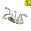 AquaSource Brushed Nickel 2-Handle 4-in Centerset WaterSense Bathroom Sink Faucet (Drain Included)