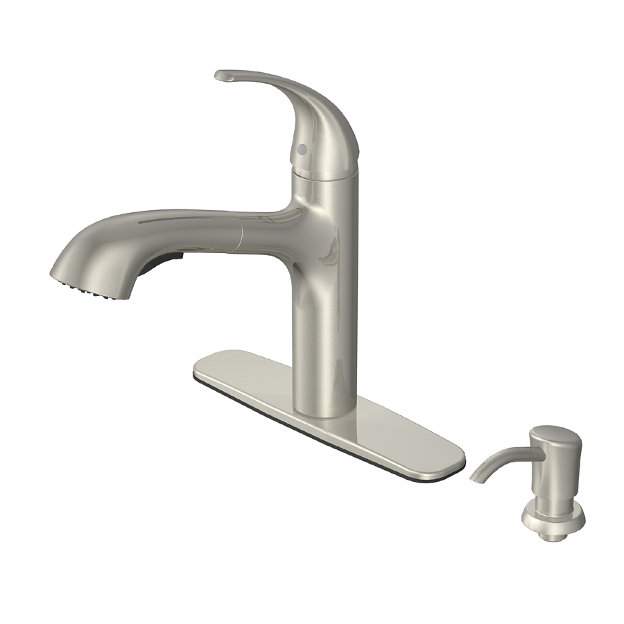 Shop Aquasource Brushed Nickel Pull Out Kitchen Faucet At