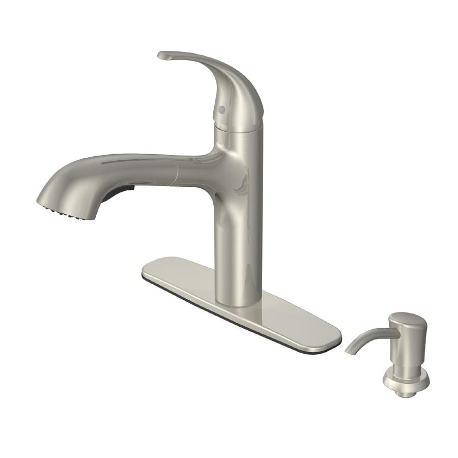 Brushed Nickel Kitchen Faucet : Shop AquaSource Brushed Nickel Pull-Out Kitchen Faucet at Lowes.com