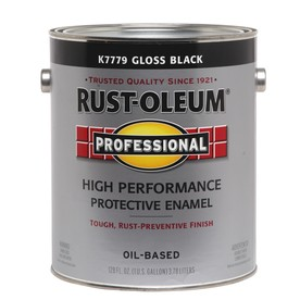Rust-Oleum Professional High Performance Black Gloss Oil-Based Enamel Interior/Exterior Paint (Actual Net Contents: 128-fl oz)
