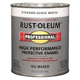 Shop Rust Oleum Professional White Gloss Oil Based Interior Exterior Paint Actual Net Contents
