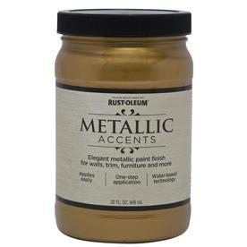Rust-Oleum Metallic Accents Gold Mine Gloss Metallic Latex Interior Paint (Actual Net Contents: 32-fl oz)