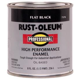 Rust-Oleum Professional High Performance Black Flat Oil-Based Enamel Interior/Exterior Paint (Actual Net Contents: 8-fl oz)
