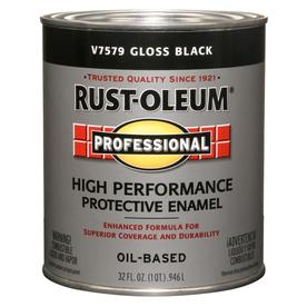 Rust-Oleum Professional High Performance Black Gloss Oil-Based Enamel Interior/Exterior Paint (Actual Net Contents: 32-fl oz)