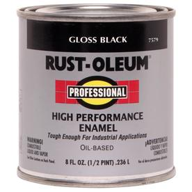 Rust-Oleum Professional High Performance Black Gloss Oil-Based Enamel Interior/Exterior Paint (Actual Net Contents: 8-fl oz)