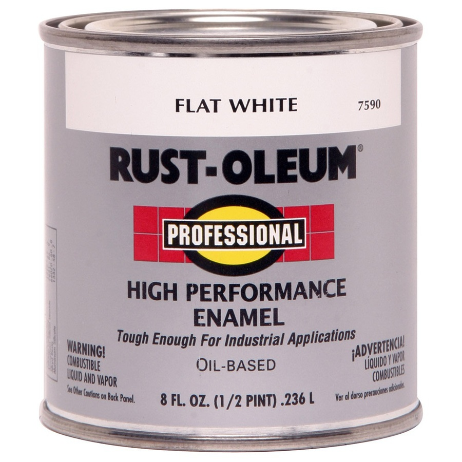 Shop Rust Oleum Professional Half Pint Size Container Exterior Flat White Oil Base Paint Actual