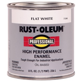 Rust-Oleum Professional High Performance White Flat Oil-Based Enamel Interior/Exterior Paint (Actual Net Contents: 8-fl oz)