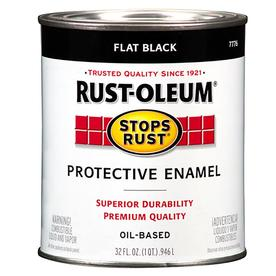 Shop rust oleum alkyd enamel stops rust black flat oil based enamel interior exterior paint - Exterior alkyd paint decoration ...