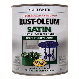 Shop rust oleum alkyd enamel stops rust white satin satin for Exterior oil based paint