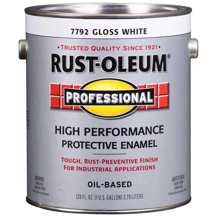 Shop Rust Oleum Professional Gallon Size Container Exterior Gloss White Oil Base Paint Actual